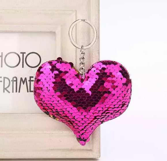 Sequin Heart Keyring