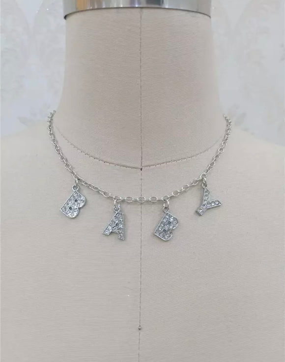 DDLGVERSE baby silver plated necklace