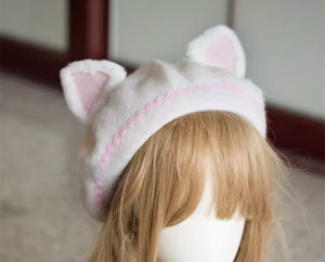 DDLGVERSE Kitten Ears Beret White Back