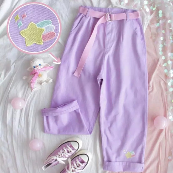 Pastel Purple Denim Pants