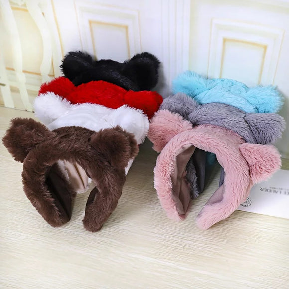 DDLGVERSE Fuzzy Bear Headband Borwn, White, Red, Black, Blue, Grey, Pink