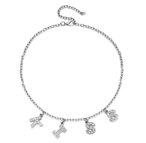 DDLGVERSE Kiss Silver Plated Necklace