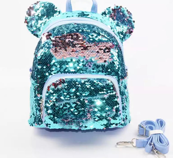 DDLGVERSE Mini Sequin Mouse Backpack Sky Blue
