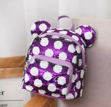 DDLGVERSE Mini Sequin Mouse Backpack Purple With White Spots