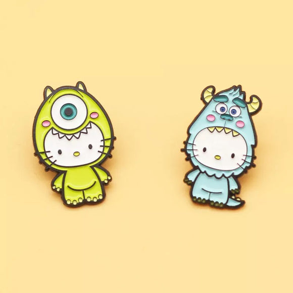 Cute Kitty Character Pin 2PCS SET