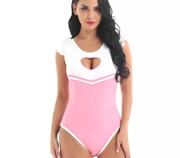DDLGVERSE Heart Keyhole Adult Onesie pink front view