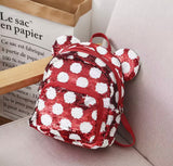 DDLGVERSE Mini Sequin Mouse Backpack Red with White Spots