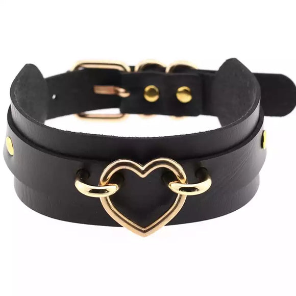 DDLGVERSE Chunky Vegan Leather Collar Black