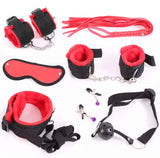 DDLGVERSE 7pcs Bondage set; handcuffs, anklecuffs, flogger, blindfold, collar and leash, nipple clamps, ball gag in red and black
