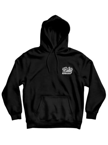 'What a Brew' Embroidered Hoodie - Black