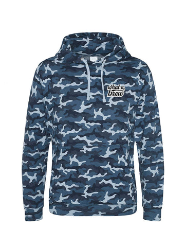 'What a Brew' Embroidered Hoodie - Blue Camo
