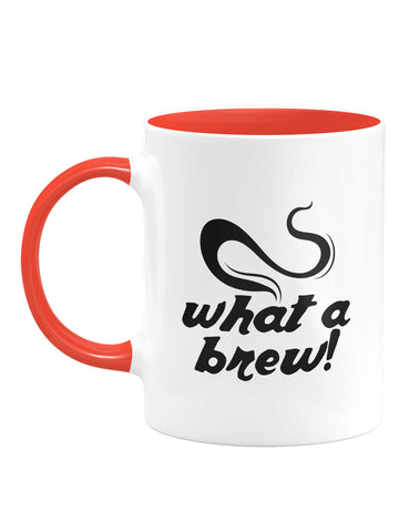 'What a Brew' White & Red Mug