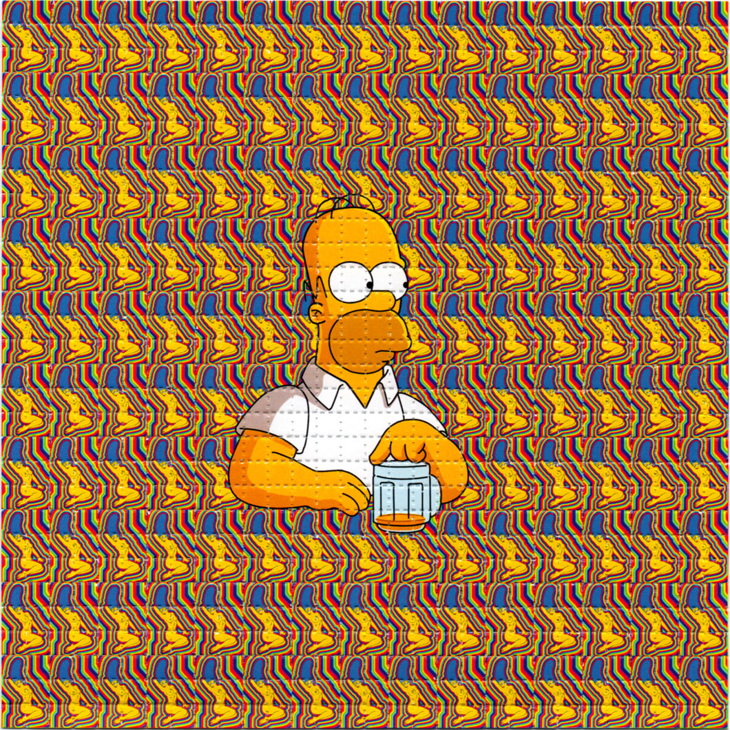 HOMER SIMPSON Dreams of Naked Marge BLOTTER ART acid free perforated lsd paper