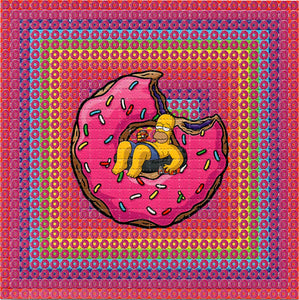 Homer Simpson Swimming in Donuts BLOTTER ART acid free perforated lsd paper