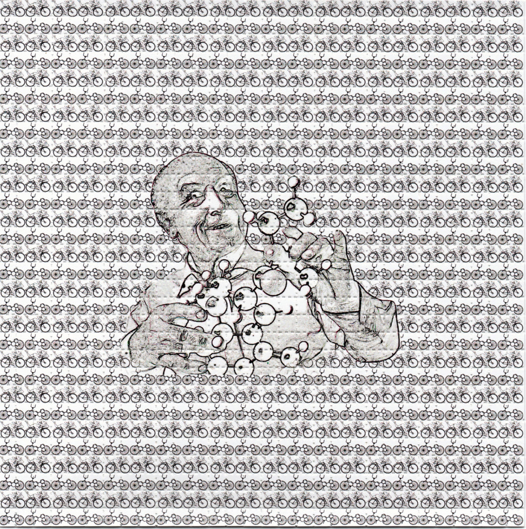 Albert Hofmann LSD Molecule with small Bicycles BLOTTER ART acid free perforated lsd paper