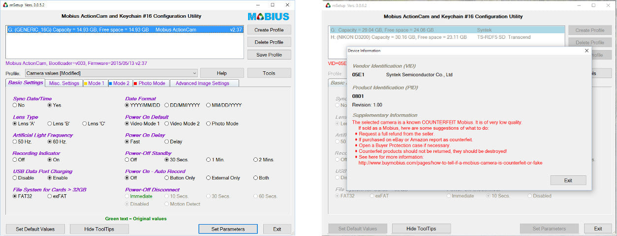 mSetup Counterfeit Mobius Warning