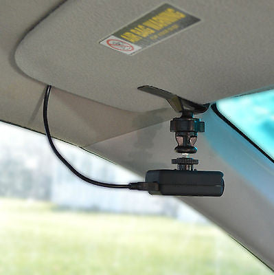Visor mount installed on car sun visor.