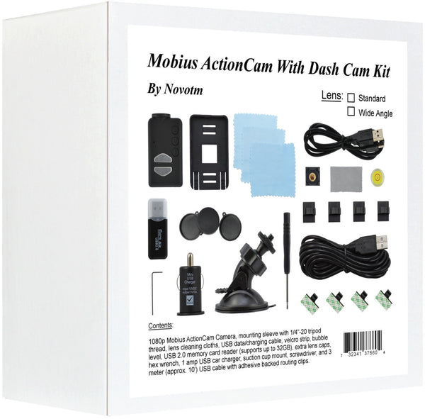 Wide Angle Mobius ActionCam Dash Cam Kit Box