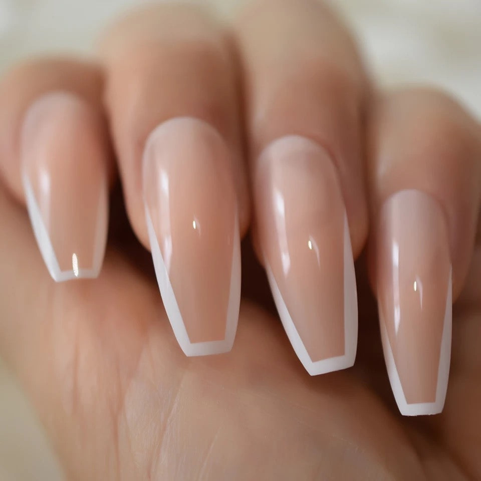 French Slim Line Long Coffin Press On Nails