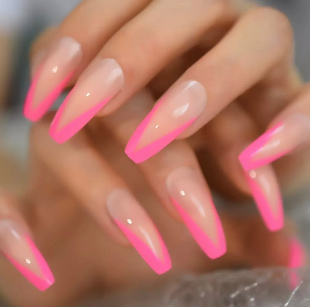 Pink French V-Shape Long Coffin Press On Nails