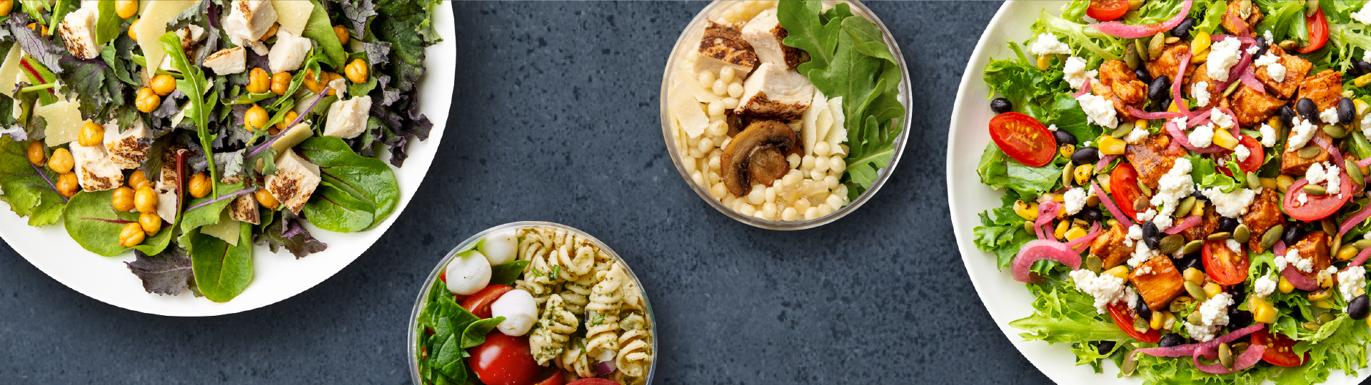 Top down image of bowls and salads
