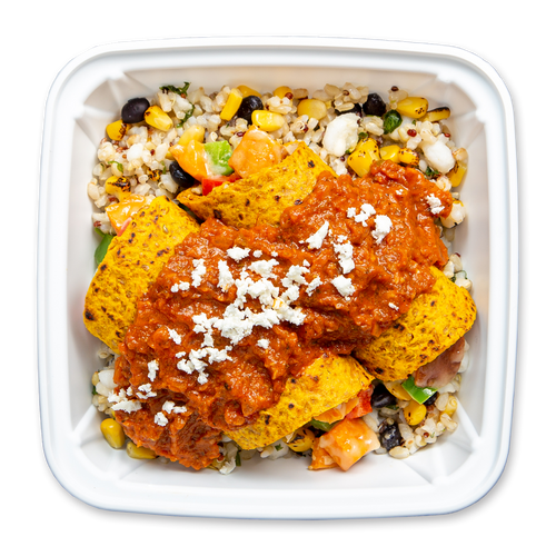 Topdown Image of Boxed Enchilada Roja Plate