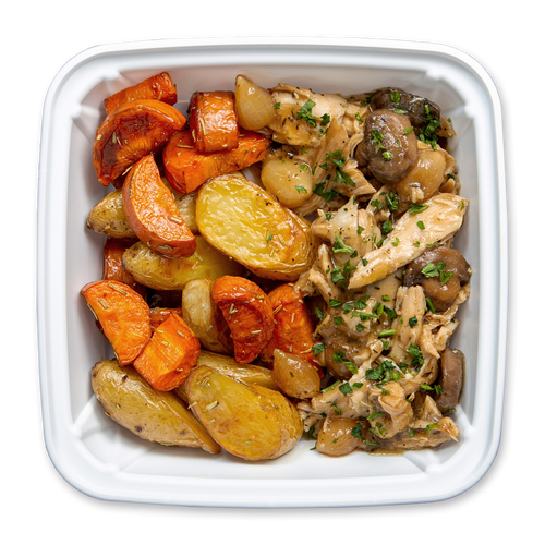 Topdown Image of Boxed French Braised Chicken Plate