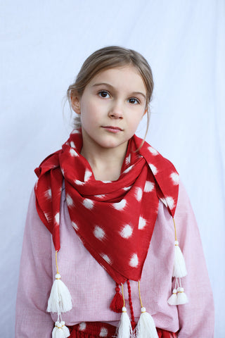 Loulou scarf Red Cotton Ikat
