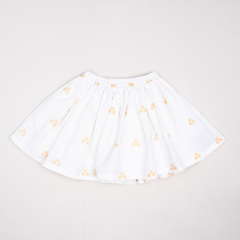 Midinette Skirt Jamdani Weave Sunflower on White