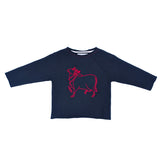Loulou sweatshirt. Midnight blue French terry with red embroidered loulou des indes cow logo on the front