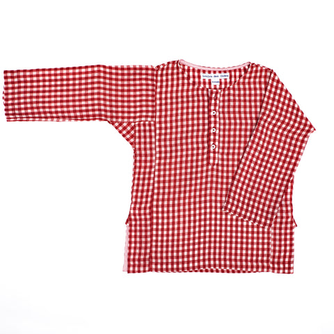 Lysandre Kurta in red gingham