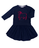 Loulou sweatshirt paired with Midinette skirt in midnight blue corduroy