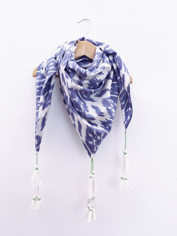 Loulou Ikat scarf, Blue Flower