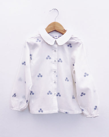 Ecoliere Top, Blue Dots Jamdani