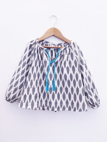 Sumatra Blouse, Grey Dots Ikat