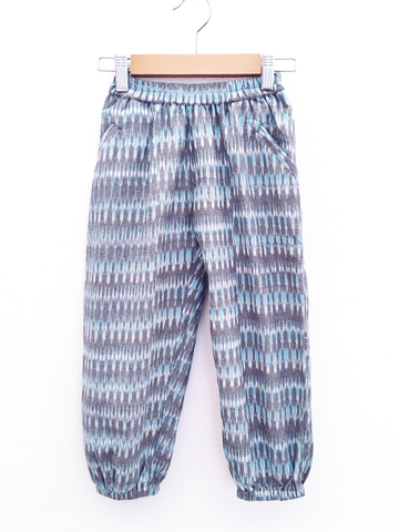 Akbar Trousers, Aqua-Grey Ikat