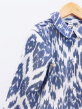 Ecoliere Top, Blue Flower Ikat