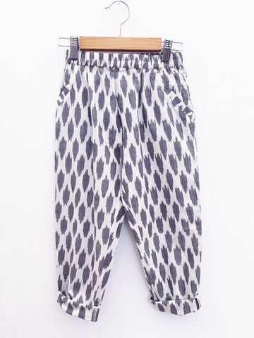 Dhaba Trousers, Grey Clouds ikat