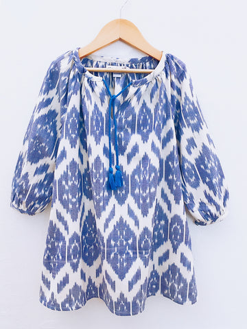 Sumatra Dress, Blue Flower Ikat
