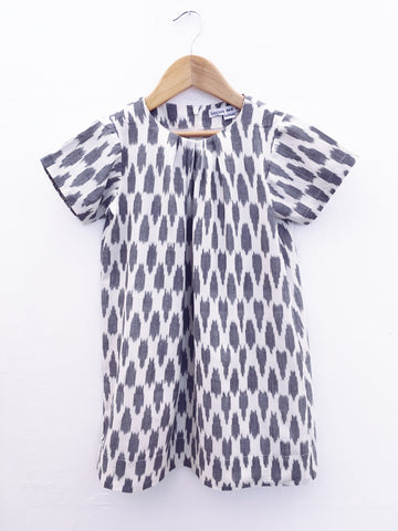 Constance Dress Grey Clouds Ikat