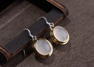 925 sterling silver chalcedony earrings