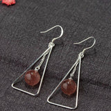 925 sterling silver strawberry quartz earrings