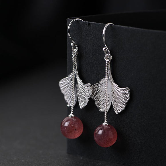 925 strawberry quartz sterling silver earrings