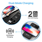 Picture of AURAPACK-10.BLK: PROMATE 10000mAh Wireless Charging Qi Power bank with LED display. Dual USB Ports. Compatible with all Qi enabled devices. Charging distance: 3-8mm Colour:Black
