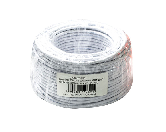 Picture of C-C6-ST-R50: DYNAMIX 50m Cat6 Beige UTP STRANDED Cable Roll, 250MHz, 24AWGx4P, PVC Jacket
