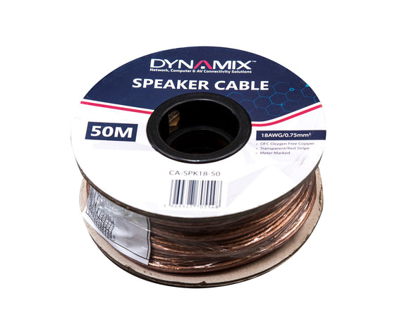 Picture of CA-SPK18-50: DYNAMIX 50m 18AWG PVC Speaker Cable. Bare Copper. Metre Marked. Transparent Colour with Red Stripe.