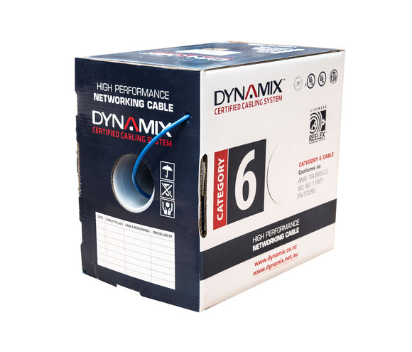 Picture of C-C6-SLDR2-BL24: DYNAMIX 305m Blue 24 AWG Cat6 Cable Roll in a Reelex II box.