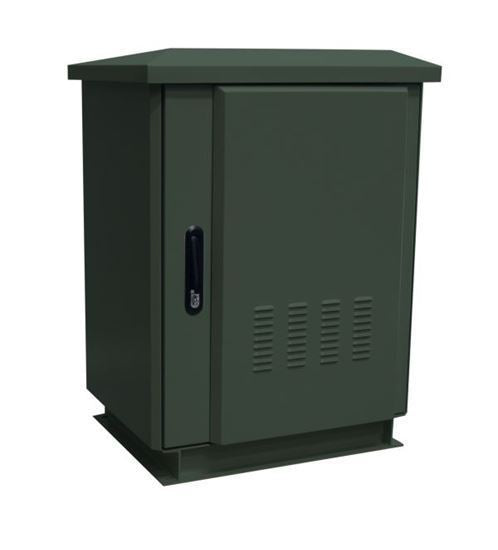 Picture of ROD27-8X6FG: DYNAMIX 27RU Outdoor Freestanding Cabinet. (800 x 600 x 1575mm external). IP45 rated. Angled pivoting rain hood. Double 25mm heating protection. Includes 10x cage nuts. Forest green