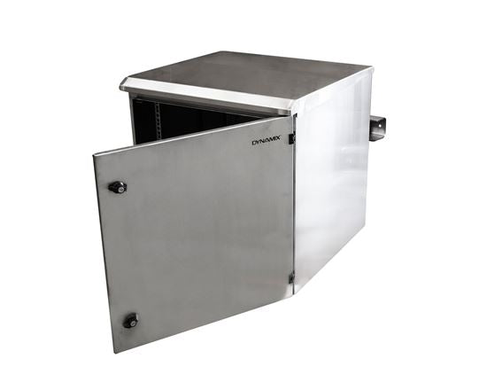 Picture of RODWSS12-600: DYNAMIX 12RU Stainless Outdoor Wall Mount Cabinet (610 x 625 x 515mm). SUS316 Stainless Steel Construction. IP65 rated. Lockable fans or filters. Wall mount accessories included.