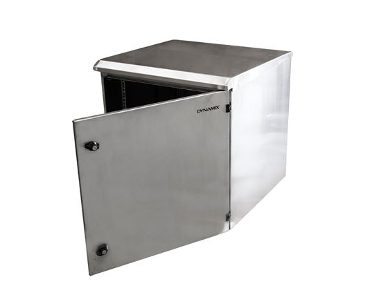 Picture of RODWSS9-600: DYNAMIX 9RU Stainless Outdoor Wall Mount Cabinet (611 x 625 x 440mm). SUS316 Stainless Steel Construction. IP65 rated. Lockable fans or filters. Wall mount accessories included.